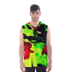 Red Roses And Bright Green 2 Men s Basketball Tank Top