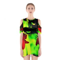 Red Roses and Bright Green 2 Cutout Shoulder Dress