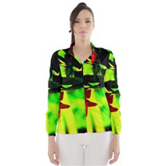 Red Roses and Bright Green 2 Wind Breaker (Women)