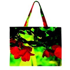 Red Roses and Bright Green 2 Large Tote Bag