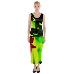 Red Roses and Bright Green 2 Fitted Maxi Dress