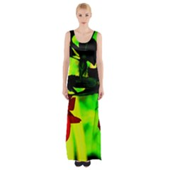 Red Roses and Bright Green 2 Maxi Thigh Split Dress
