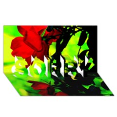 Red Roses And Bright Green 3 Sorry 3d Greeting Card (8x4)