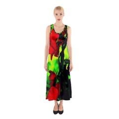 Red Roses And Bright Green 3 Full Print Maxi Dress