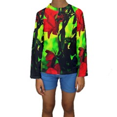 Red Roses and Bright Green 3 Kid s Long Sleeve Swimwear