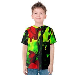 Red Roses And Bright Green 3 Kid s Cotton Tee