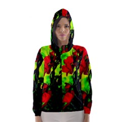 Red Roses and Bright Green 3 Hooded Wind Breaker (Women)
