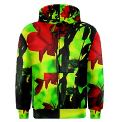 Red Roses And Bright Green 3 Men s Zipper Hoodie