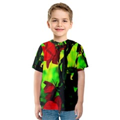 Red Roses and Bright Green 3 Kid s Sport Mesh Tee