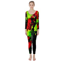 Red Roses And Bright Green 3 Long Sleeve Catsuit