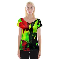 Red Roses And Bright Green 3 Women s Cap Sleeve Top