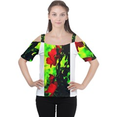 Red Roses and Bright Green 3 Women s Cutout Shoulder Tee