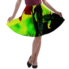 Red Roses and Bright Green 3 A-line Skater Skirt