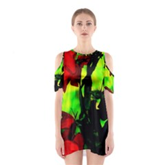 Red Roses and Bright Green 3 Cutout Shoulder Dress