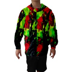 Red Roses and Bright Green 3 Hooded Wind Breaker (Kids)