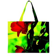 Red Roses and Bright Green 3 Large Tote Bag
