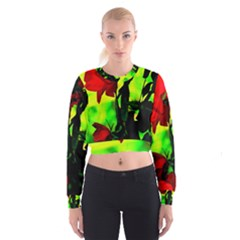 Red Roses and Bright Green 3 Women s Cropped Sweatshirt