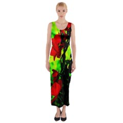 Red Roses and Bright Green 3 Fitted Maxi Dress