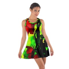Red Roses And Bright Green 3 Racerback Dresses