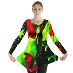 Red Roses and Bright Green 3 Long Sleeve Tunic