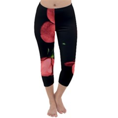 Mauve Roses 1 Capri Winter Leggings