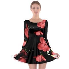 Mauve Roses 1 Long Sleeve Skater Dress
