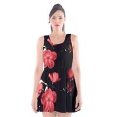 Mauve Roses 2 Scoop Neck Skater Dress