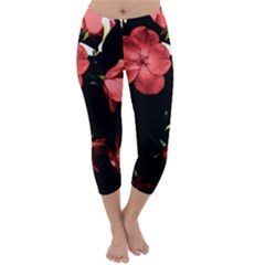 Mauve Roses 4 Capri Winter Leggings