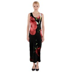 Mauve Roses 4 Fitted Maxi Dress