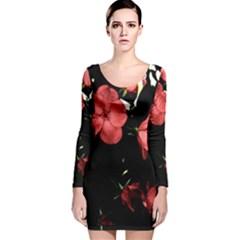Mauve Roses 4 Long Sleeve Velvet Bodycon Dress
