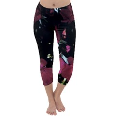 Mauve Pink Roses Capri Winter Leggings