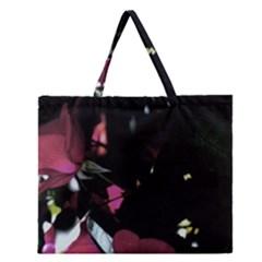 Mauve Pink Roses Zipper Large Tote Bag