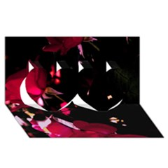 Pink Roses Twin Hearts 3d Greeting Card (8x4)