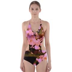 Little Mauve Flowers Cut-Out One Piece Swimsuit