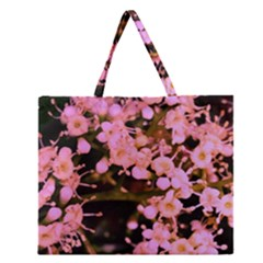 Little Mauve Flowers Zipper Large Tote Bag