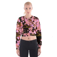 Little Mauve Flowers Women s Cropped Sweatshirt