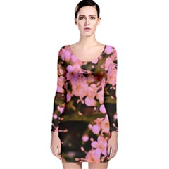 Little Mauve Flowers Long Sleeve Velvet Bodycon Dress