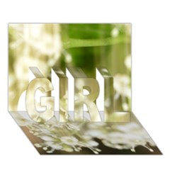 Little White Flowers Girl 3d Greeting Card (7x5)