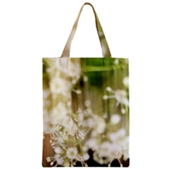 Little White Flowers Zipper Classic Tote Bag