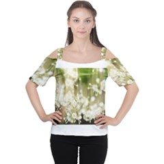 Little White Flowers Women s Cutout Shoulder Tee