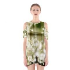 Little White Flowers Cutout Shoulder Dress