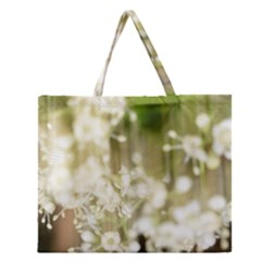 Little White Flowers Zipper Large Tote Bag
