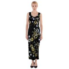 Little White Flowers 2 Fitted Maxi Dress