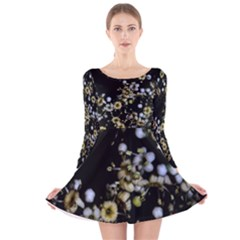 Little White Flowers 2 Long Sleeve Velvet Skater Dress
