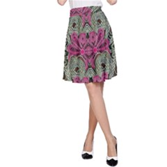 The Last Peacock In Metal A-Line Skirt