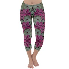 The Last Peacock In Metal Capri Winter Leggings