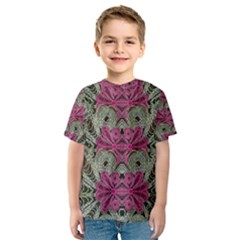 The Last Peacock In Metal Kid s Sport Mesh Tee