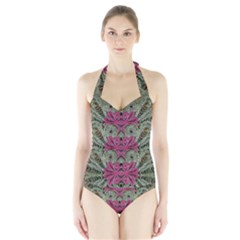 The Last Peacock In Metal Women s Halter One Piece Swimsuit