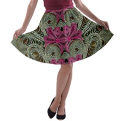 The Last Peacock In Metal A Line Skater Skirt