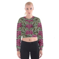 The Last Peacock In Metal Women s Cropped Sweatshirt